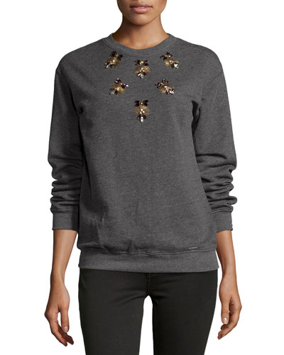 Embellished Sweatshirt, Gray