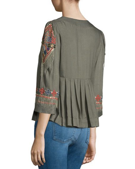 Embroidered & Embellished Pleated Top, Green