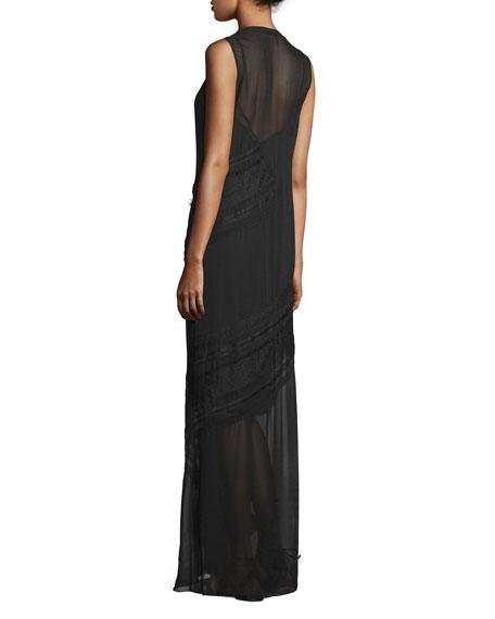 Woven Sleeveless Button-Front Dress, Black