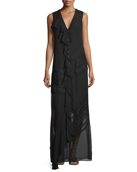 Haute Hippie Woven Sleeveless Button-Front Dress, Black