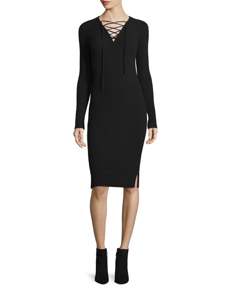 Neiman Marcus Cashmere Collection Ribbed Cashmere Lace-Up V-Neck