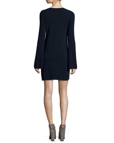 Cashmere V-Neck Bell-Sleeve Sweaterdress