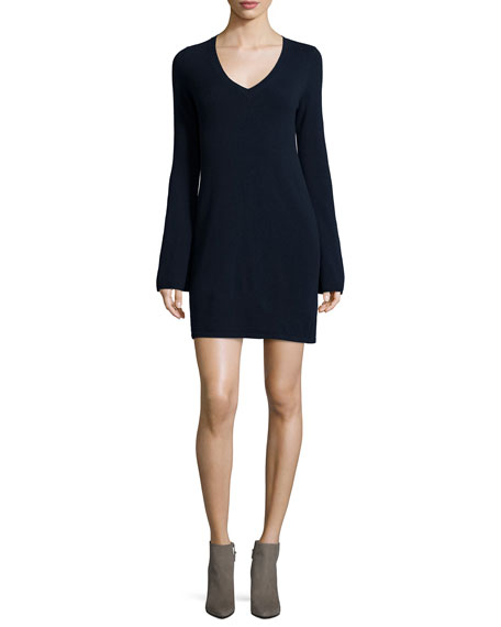 Autumn Cashmere Cashmere V-Neck Bell-Sleeve Sweaterdress