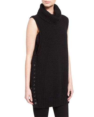 Cashmere-Blend Lace-Up Turtleneck Gilet