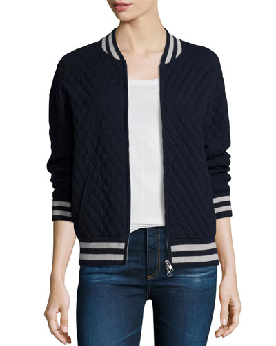 Cashmere-Blend Quilted Bomber Jacket