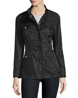 High-Neck Snap-Front Jacket