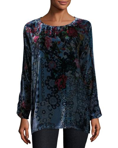 Glen Dolman-Sleeve Floral-Print Velvet Tunic, Plus Size
