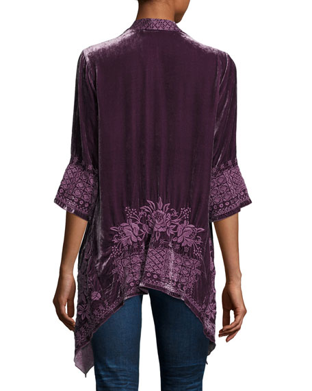 3/-Sleeve Velvet Draped Cardigan, Plus Size