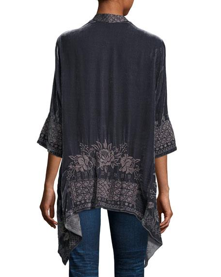 3/4-Sleeve Velvet Draped Cardigan