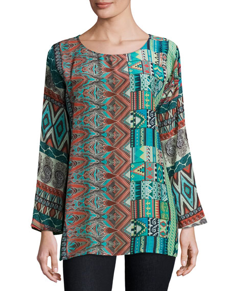 Glen Dolman-Sleeve Printed Blouse, Multi