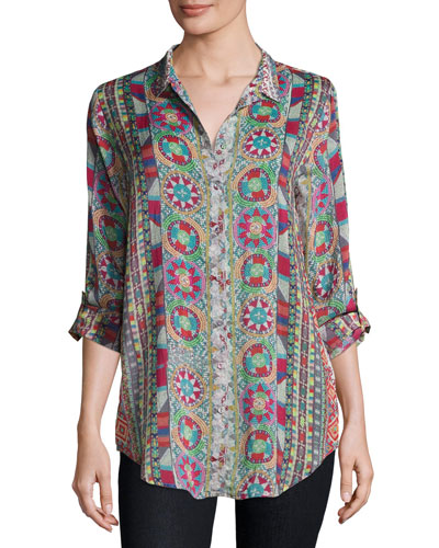 Rosetto Button-Front Printed Tunic, Plus Size