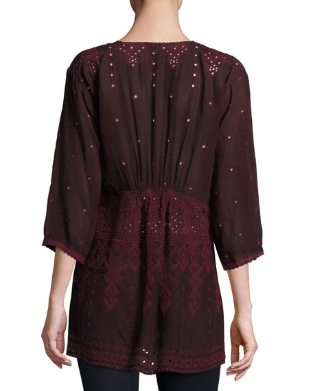 Falling Star Embroidered Georgette Blouse, Plus Size