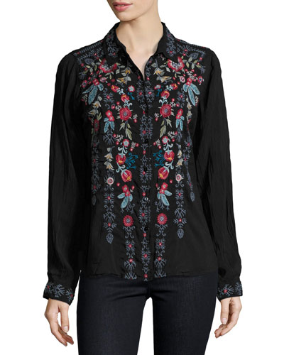 Yoshi Embroidered Button-Front Blouse, Black, Plus Size