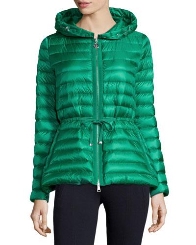 Raie Hooded Puffer Jacket, Emerald