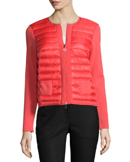Puffer Knit Combo Cardigan, Coral
