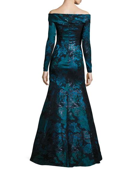 Off-the-Shoulder Floral Metallic Gown, Teal/Black