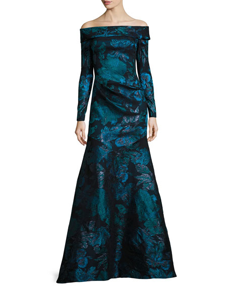 Off-the-Shoulder Floral Metallic Gown, Teal/Black
