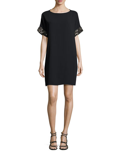 Short-Sleeve Beaded Crepe Mini Dress, Black