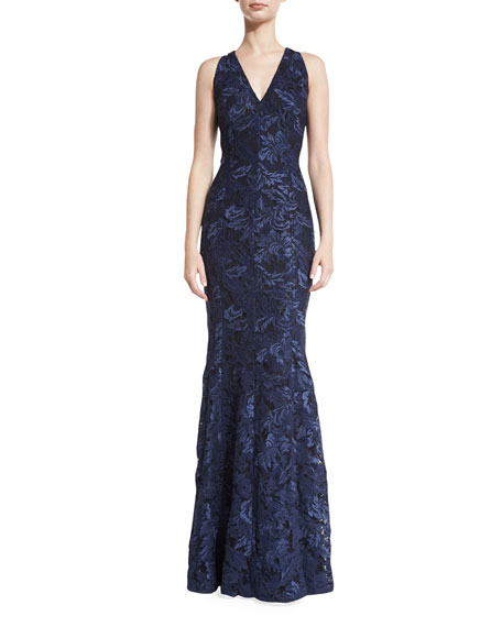 Carmen Marc Valvo Sleeveless Lace Mermaid Gown, Midnight