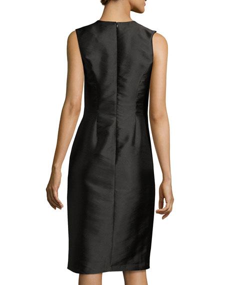 Sleeveless Embellished Taffeta Shift Dress, Black
