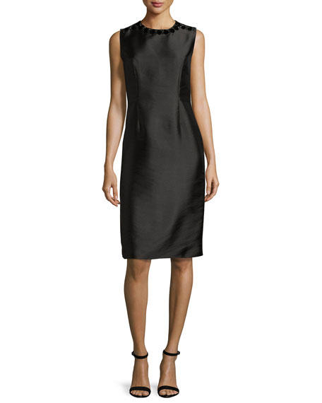 Sachin & Babi Sleeveless Embellished Taffeta Shift Dress,