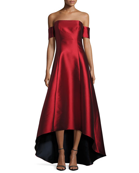 Strapless Satin High-Low Gown, Garnet