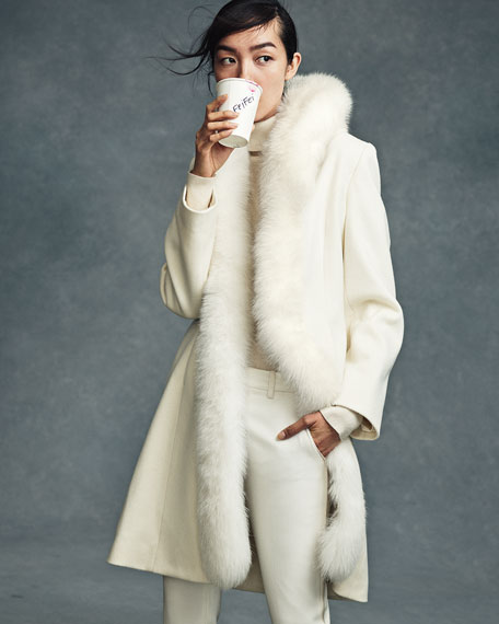 Long Fur-Trimmed Wool Tuxedo Coat