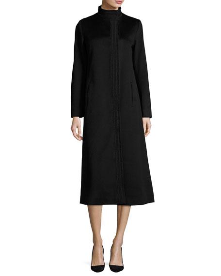 Fleurette Long Wool Coat, Black