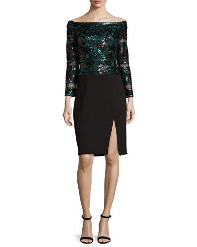Sequined Mesh & Jersey Cocktail Dress, Deep Leaf/Black
