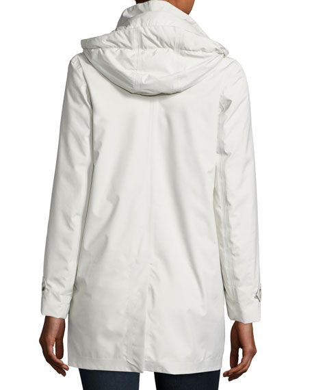 Lightweight Button-Front Hooded Jacket, Snow White
