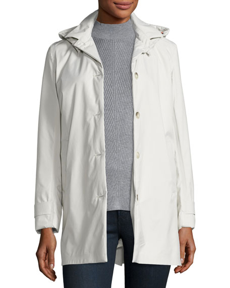 Save The Duck Lightweight Button-Front Hooded Jacket, Snow