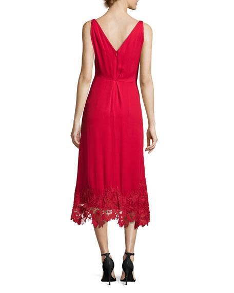 Sleeveless Silk Lace-Trim Midi Dress, Crimson