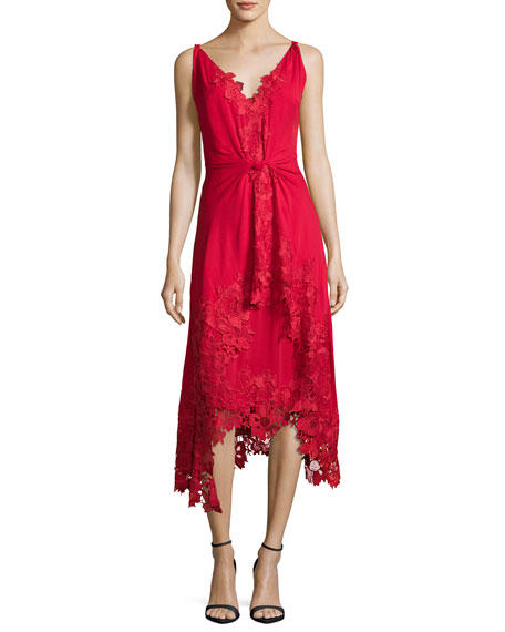 Kobi Halperin Sleeveless Silk Lace-Trim Midi Dress, Crimson