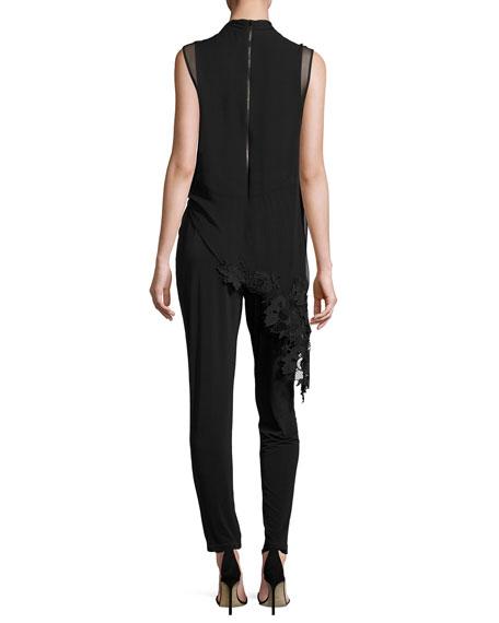 Sleeveless Jersey & Silk Chiffon Jumpsuit, Black