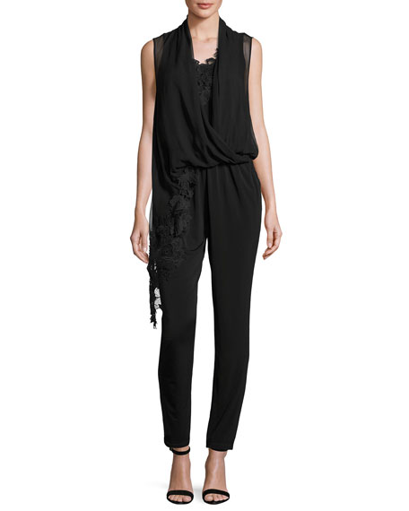Kobi Halperin Sleeveless Jersey & Silk Chiffon Jumpsuit,