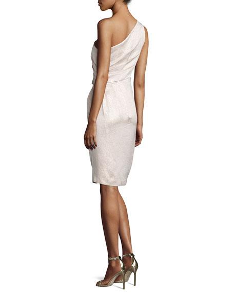 Metallic One-Shoulder Cocktail Dress, Petal