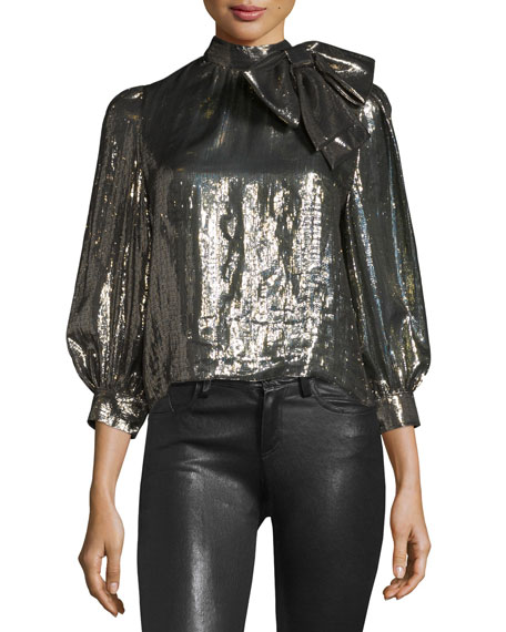 Alice + Olivia Violeta Metallic Tie-Neck Blouse