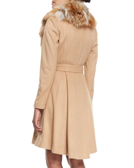 Nikita Belted Fox-Collar Dress Coat, Camel