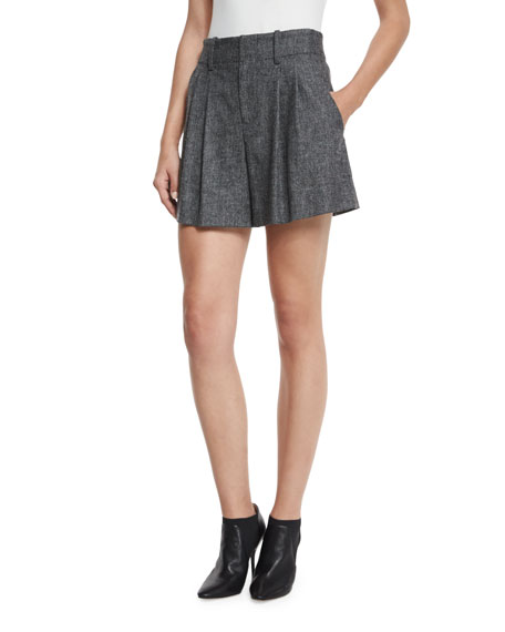 Eloise High-Waist Double-Pleated Shorts, Charcoal