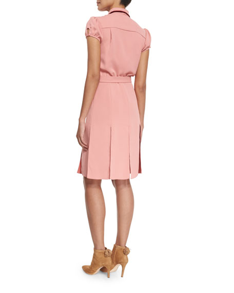 Carie Bow-Neck Belted Shirtdress