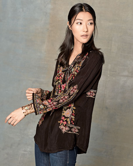 Fabio Embroidered Blouse, Dark Cocoa