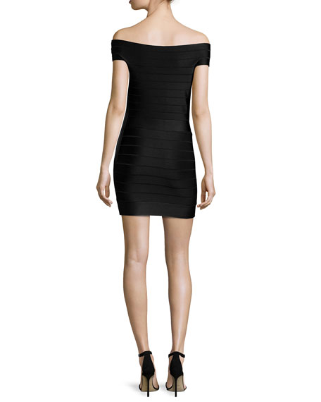 Spotlight Star Off-the-Shoulder Bandage Dress, Black