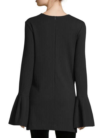 Ribbed Bell-Sleeve Tunic Top, Black
