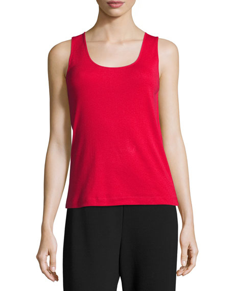 Joan Vass Soft Scoop-Neck Tank, Red, Petite