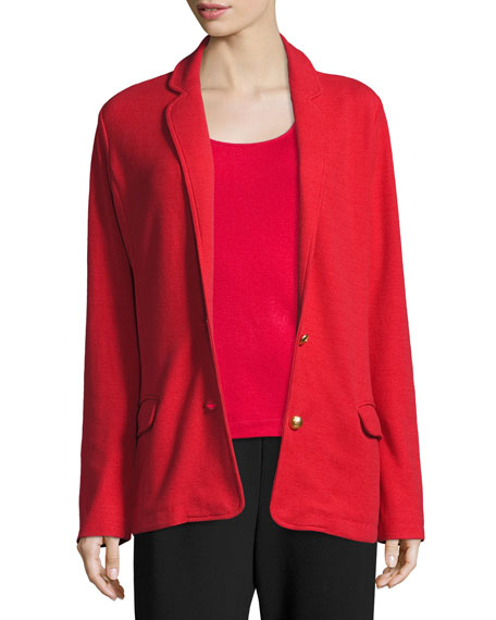 Joan Vass Two-Button Long Pique Blazer, Classic Red,