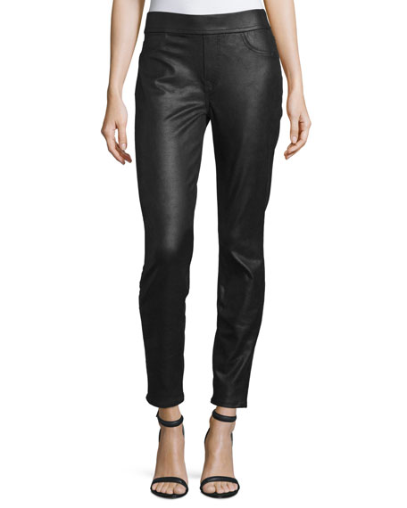JEN7 Napa Leather-Like Ponte Skinny Jeans, Black