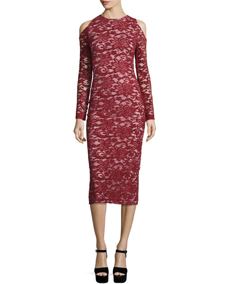 Alice + Olivia Laila Cold-Shoulder Floral-Lace Sheath Dress