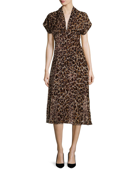 Alice + OliviaBrandee Draped-Neck Leopard-Print Midi Dress