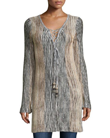 Calypso St Barth Maviale Metallic Ribbed Lace-Up Tunic