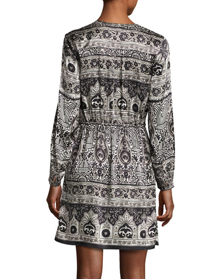 Talori Long-Sleeve Print Silk Dress, Snow CC